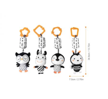 Set 4 jucarii interactive, zornaitoare, agatatoare, Design Animale, varsta +0 luni, Tumama®, alb/negru [7]