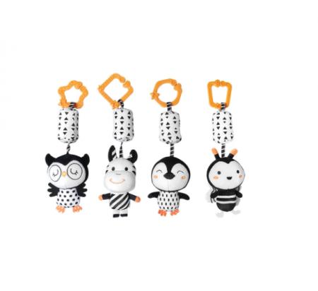 Set 4 jucarii interactive, zornaitoare, agatatoare, Design Animale, varsta +0 luni, Tumama®, alb/negru [0]