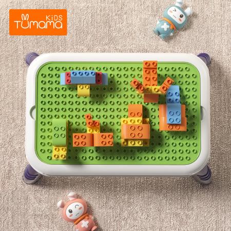 Set blocuri de constructie cu masuta, 51 piese, varsta +3 ani, Tumama®, multicolor [4]