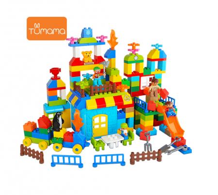 """Set blocuri de constructie """"Parcul distractiei"""", multiple activitati, 160 piese, Tumama®, multicolor1"""