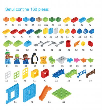 """Set blocuri de constructie """"Parcul distractiei"""", multiple activitati, 160 piese, Tumama®, multicolor8"""