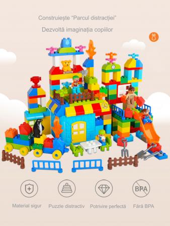 """Set blocuri de constructie """"Parcul distractiei"""", multiple activitati, 160 piese, Tumama®, multicolor6"""