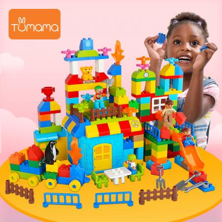 """Set blocuri de constructie """"Parcul distractiei"""", multiple activitati, 160 piese, Tumama®, multicolor2"""