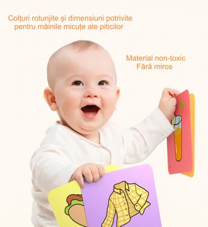 Set cartonase asociere 2 in 1 Tumama® pentru bebelusi si copii, Material Carton, Ilustratii litere, cifre, forme geometrice, 40 piese, alb/negru [7]