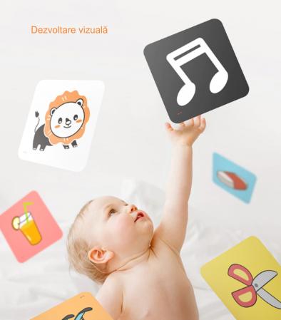 Set cartonase asociere 2 in 1 Tumama® pentru bebelusi si copii, Material Carton, Ilustratii litere, cifre, forme geometrice, 40 piese, alb/negru [3]