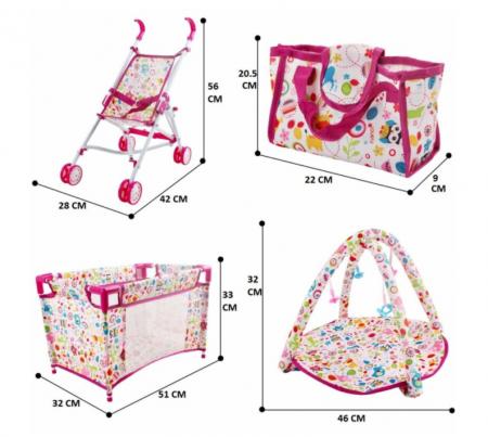 Set copii interactiv cu papusa bebelus si accesorii: tarc, carucior, suport bebe, geanta, covoras, SMARTIC®, multicolor9
