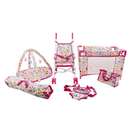 Set copii interactiv cu papusa bebelus si accesorii: tarc, carucior, suport bebe, geanta, covoras, SMARTIC®, multicolor0