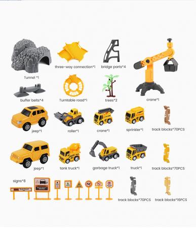 Set de joaca Pista cu Masinute Electrice si accesorii, 258 piese, varsta +3 ani, Tumama®, multicolor [7]