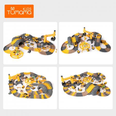 Set de joaca Pista cu Masinute Electrice si accesorii, 258 piese, varsta +3 ani, Tumama®, multicolor [5]