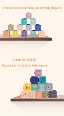 Set jucarii interactive si educative din silicon, Cuburi 12 piese, pentru dentitia bebelusilor, varsta +3 luni, Tumama®, multicolor [7]