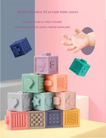 Set jucarii interactive si educative din silicon, Cuburi 12 piese, pentru dentitia bebelusilor, varsta +3 luni, Tumama®, multicolor [6]