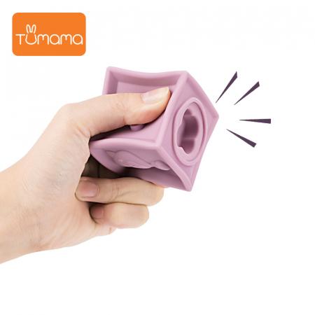 Set jucarii interactive si educative din silicon, Cuburi 12 piese, pentru dentitia bebelusilor, varsta +3 luni, Tumama®, multicolor [2]