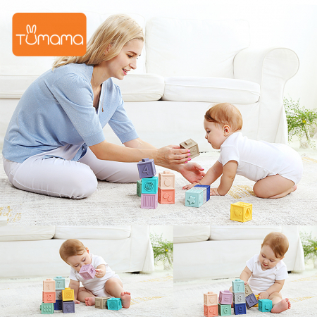 Set jucarii interactive si educative din silicon, Cuburi 12 piese, pentru dentitia bebelusilor, varsta +3 luni, Tumama®, multicolor [5]