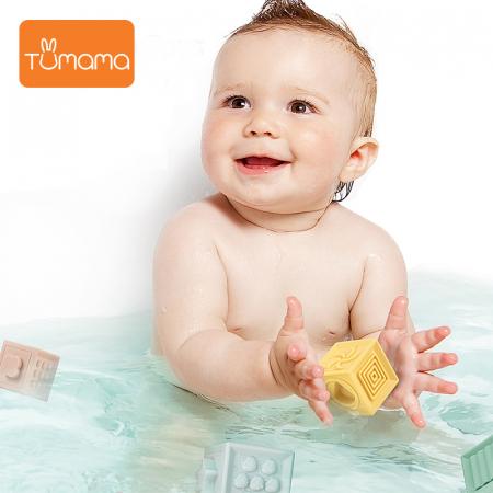 Set jucarii interactive si educative din silicon, Cuburi 12 piese, pentru dentitia bebelusilor, varsta +3 luni, Tumama®, multicolor [3]