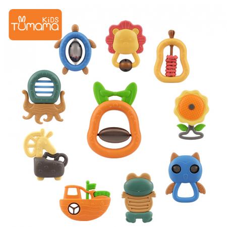 Set jucarii zornaitoare pentru bebelusi, diferite forme, 10 bucati, plastic fara BPA + silicon, Tumama®, multicolor [1]