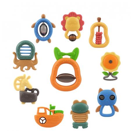 Set jucarii zornaitoare pentru bebelusi, diferite forme, 10 bucati, plastic fara BPA + silicon, Tumama®, multicolor [0]