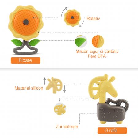 Set jucarii zornaitoare pentru bebelusi, diferite forme, 10 bucati, plastic fara BPA + silicon, Tumama®, multicolor [9]