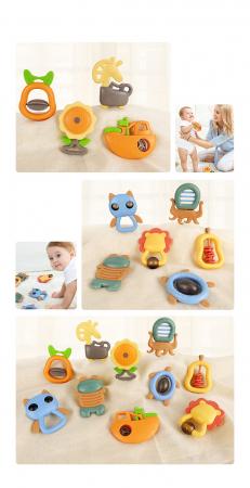 Set jucarii zornaitoare pentru bebelusi, diferite forme, 10 bucati, plastic fara BPA + silicon, Tumama®, multicolor [5]