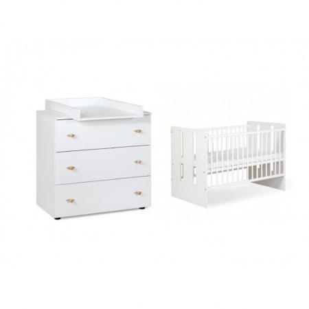 Set mobilier 3 piese Patut, Comoda si Saltea pentru camera copiilor si bebelusilor, alb [5]
