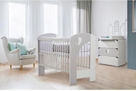 Set mobilier 3 piese Patut, Comoda si Saltea pentru camera copiilor si bebelusilor, alb [6]