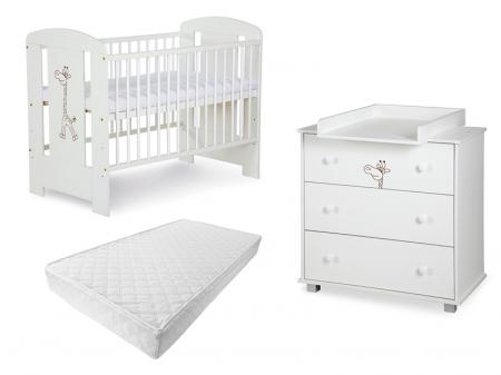 Set mobilier 3 piese Patut, Comoda si Saltea pentru camera copiilor si bebelusilor, Design Girafa, Culoare alb [0]