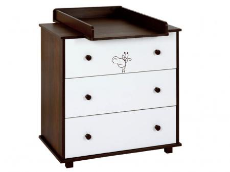Set mobilier 3 piese Patut, Comoda si Saltea pentru camera copiilor si bebelusilor, Design Girafa, Culoare wenge [2]