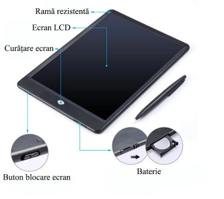 Tableta Grafica Cu Display de 10 inch pentru Scris si Desenat + Creion5