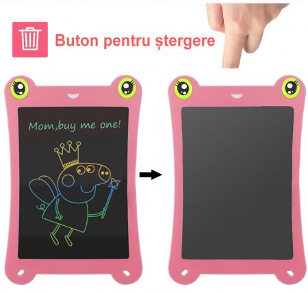 Tableta Grafica pentru Copii, SMARTIC, 8.5 inch, model Broscuta, Roz3