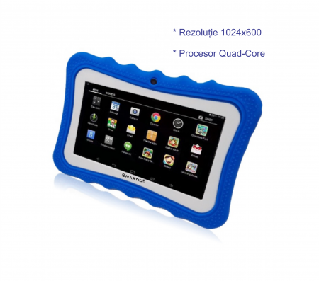 "Tableta portabila pentru copii, Display 7"" Quad-Core Android 10, Wi-Fi, Bluetooth 4.0, 1GB RAM, 8G ROM, HD Dual Camera, Touch Screen, Smartic®, albastru [6]"