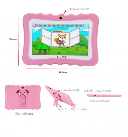 "Tableta portabila pentru copii, Display 7"" Quad-Core Android 10, Wi-Fi, Bluetooth 4.0, 1GB RAM, 8G ROM, HD Dual Camera, Touch Screen, Smartic®, roz [4]"