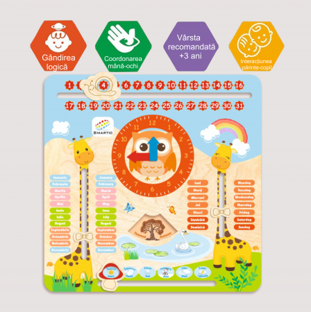"Tablita din lemn ""Calendarul naturii"", 5 activitati, Design Girafa, Limba Romana si Engleza, 30x30 cm, Smartic®, multicolor4"