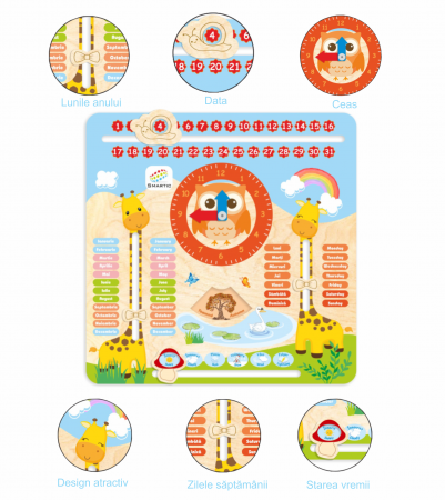 "Tablita din lemn ""Calendarul naturii"", 5 activitati, Design Girafa, Limba Romana si Engleza, 30x30 cm, Smartic®, multicolor6"