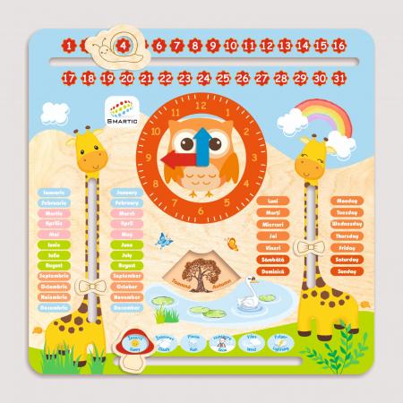 "Tablita din lemn ""Calendarul naturii"", 5 activitati, Design Girafa, Limba Romana si Engleza, 30x30 cm, Smartic®, multicolor1"