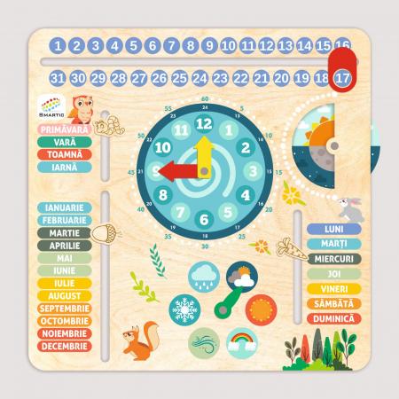 """Tablita din lemn """"Calendarul naturii"""", 6 activitati, Design Bufnita, Limba Romana, 30x30 cm, Smartic®, multicolor [1]"""