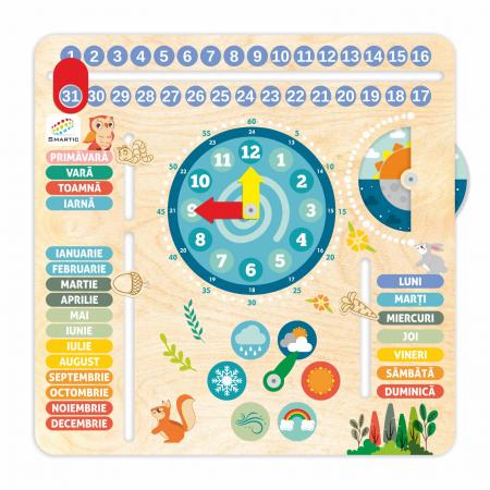 """Tablita din lemn """"Calendarul naturii"""", 6 activitati, Design Bufnita, Limba Romana, 30x30 cm, Smartic®, multicolor [0]"""