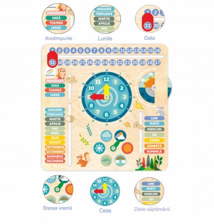 """Tablita din lemn """"Calendarul naturii"""", 6 activitati, Design Bufnita, Limba Romana, 30x30 cm, Smartic®, multicolor [7]"""