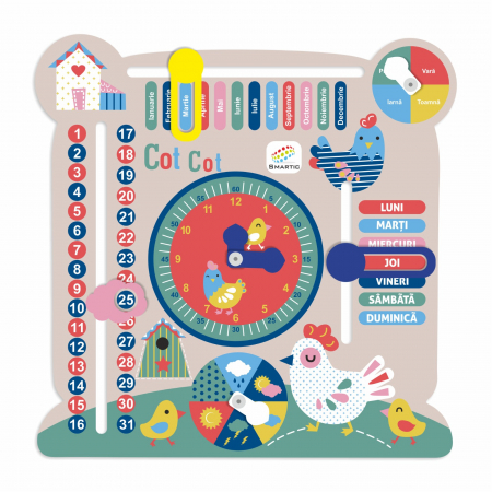 """Tablita din lemn """"Calendarul naturii"""", 6 activitati, Design Puisori, Limba Romana, 30x30 cm, Smartic®, multicolor [0]"""