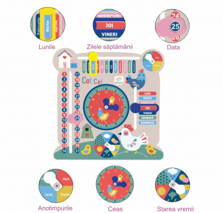 """Tablita din lemn """"Calendarul naturii"""", 6 activitati, Design Puisori, Limba Romana, 30x30 cm, Smartic®, multicolor [4]"""
