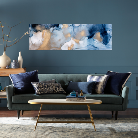 Tablou Canvas Abstract, Panza, Material Textil si Bumbac, 120 x 40 cm, Multicolor [1]