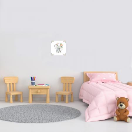 Tablou Canvas Pentru Camera Copiilor, Model Elefantel, Material Textil si Bumbac, 20 x 20 cm, Multicolor1