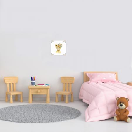 Tablou Canvas Pentru Camera Copiilor, Model Tigru, Material Textil si Bumbac, 20 x 20 cm, Multicolor [1]