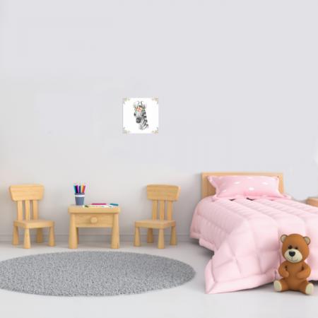 Tablou Canvas Pentru Camera Copiilor, Model Zebra, Material Textil si Bumbac, 20 x 20 cm, Multicolor1