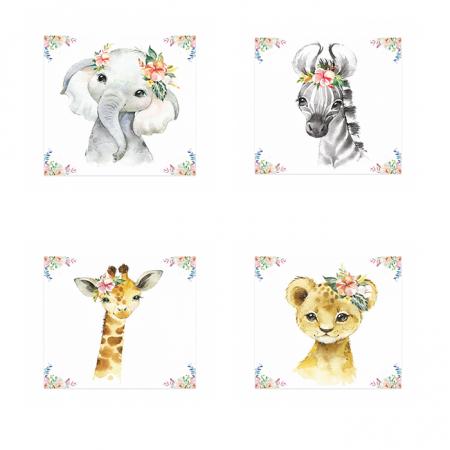 Tablouri Canvas Pentru Camera Copiilor, Set 4 Piese, Model Elefant, Girafa, Zebra, Tigru, Material Textil si Bumbac, 20 x 20 cm, Multicolor [0]