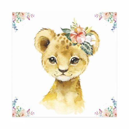 Tablouri Canvas Pentru Camera Copiilor, Set 4 Piese, Model Elefant, Girafa, Zebra, Tigru, Material Textil si Bumbac, 20 x 20 cm, Multicolor [3]