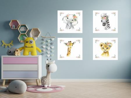 Tablouri Canvas Pentru Camera Copiilor, Set 4 Piese, Model Elefant, Girafa, Zebra, Tigru, Material Textil si Bumbac, 20 x 20 cm, Multicolor [6]