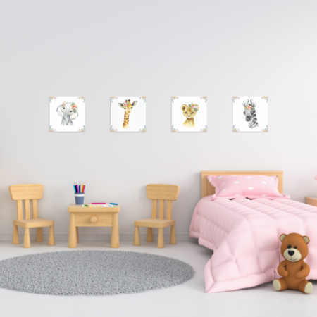 Tablouri Canvas Pentru Camera Copiilor, Set 4 Piese, Model Elefant, Girafa, Zebra, Tigru, Material Textil si Bumbac, 20 x 20 cm, Multicolor [5]