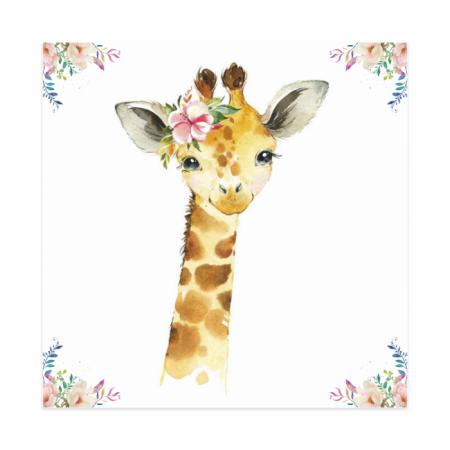 Tablouri Canvas Pentru Camera Copiilor, Set 4 Piese, Model Elefant, Girafa, Zebra, Tigru, Material Textil si Bumbac, 20 x 20 cm, Multicolor [2]