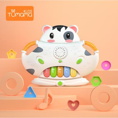 Tastatura muzicala Tumama®, pian si sortare a formelor, design amuzant si colorat in forma de vacuta, alb1