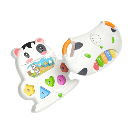 Tastatura muzicala Tumama®, pian si sortare a formelor, design amuzant si colorat in forma de vacuta, alb0