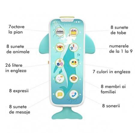 Telefon muzical  interactiv cu peste 100 de sunete educative pentru copii, alb, Tumama®5